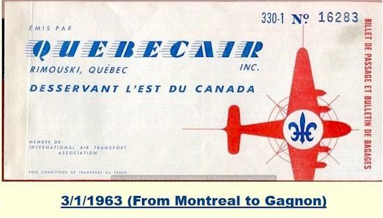 tmb quebecair ticket 1963